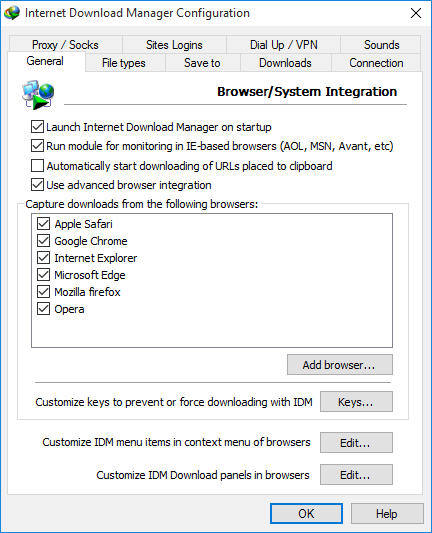 IDM Capture downloads from browsers