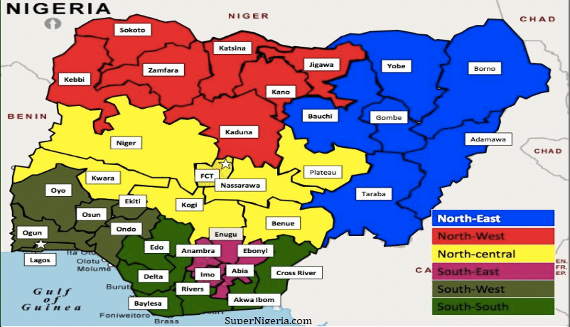 nigeria geo political zones and states