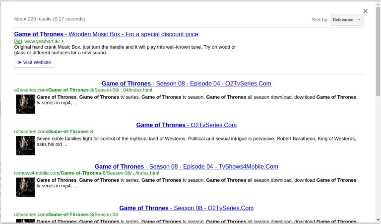 o2tvseries search results
